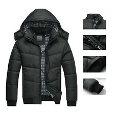 Men's Winter Cotton-Padded Jacket Hooded Thicken Warm Coat Outdoors Parka Black