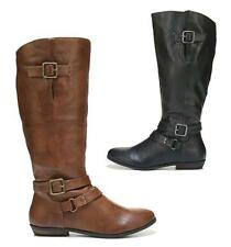 MADDEN GIRL Riding Style Wide Calf Boots in Black & Brown