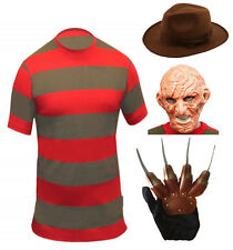 Adulto Uomo Halloween Freddy Krueger Fancy Dress Costume Horror Orrore OUTFIT
