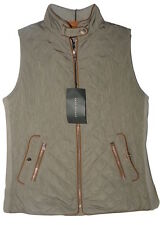 ZARA WOMAN Quilted Waistcoat Vest with Piping and Snap Collar