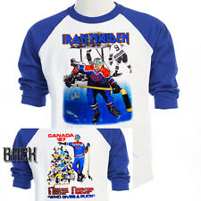 """IRON MAIDEN,Canada """"Who Gives a Puck"""" 87 TOUR T-SHIRT,S,M,L,XL,2X,3X,T-Blue697"""