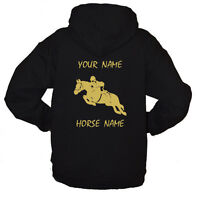 Kids Personalised Horse Hoodie, Show Jump, EQUESTRIAN, A PERFECT BIRTHDAY GIFT