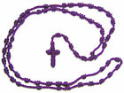 Handmade purple knotted thread rosary beads necklace