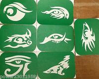 Pack of 7 EYES-1  Eye Tattoo Body Art Glitter Stencils