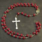 Wood wooden red long rosary beads Saints necklace