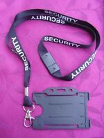 SECURITY/SIA/CPO Black/White Neck Lanyard/Metal Clip+ID Pass Card/Badge Holder B
