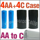4x 3000mAh AA NiMH Battery Blue+4x AA to C LR14 Holder Case Adaptor Converter