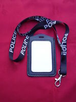POLICE,SO19,CO19,Black/White Neck Lanyard & Security ID Pass Card/Badge Holder P