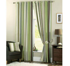 NEW GREEN BROWN STRIPED RING & TAPE TOP READY MADE CURTAINS & TIE BACKS 6 SIZES