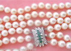.70ctw DIAMOND .30ctw EMERALD CLASP TRIPLE STRAND 8mm PEARL CHOKER NECKLACE 1950