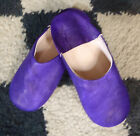 VERY SOFT LEATHER SLIPPERS / MULES * PURPLE size 6/39 From Morocco