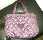 NEW JUICY COUTURE SHOULDER PURSE BAG TOTE PURPLE VIOLET QUILTED NYLON