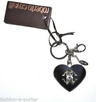 ROBERTO CAVALLI LOGO HEART KEY RING BAG CHARM BNWT BOX
