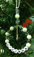 3x Set of Personalised-Xmas Tree-Decorations-Handmade-Glass Beads-any Colour