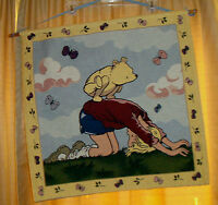 Large CLASSIC Winnie The POOH Christopher Robin TAPESTRY Wall Hanging NURSERY