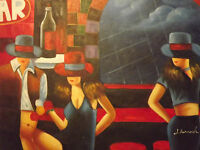 sexy bar women ladies hats large oil painting canvas modern contemporary art