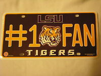 LSU Tigers #1 Fan Aluminum License Plate NEW!! Honey Badger