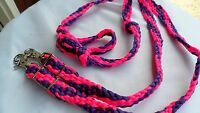 HAND BRAIDED PARACORD BARREL or TRAIL HORSE REINS HOT PINK & PURPLE! FREE SHIP