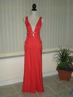 12 CAPRICE RED DRESS SILK PLUNGE FRONT LONG MAXI WEDDING CRUISE SUMMER PARTY