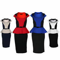 Womens Belted Peplum Knee Length Contrast Pencil Skirt Bodycon Dress