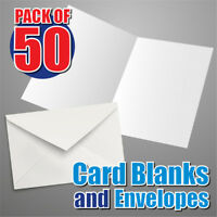 BLANK CARDS: 50 x Slim White 290gsm and Envelopes
