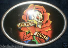 GOLDEN ROSE SKULL FLOWER HARDY TATTOO COMIC BELT BUCKLE