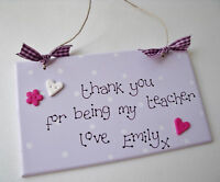 Personalised Thank you Teacher Plaque Handmade Gift
