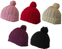 W29 RETRO FOLD UP CABLE KNITTED WINTER BEANIE SKI HAT BOBBLE POM POM TOP 6 COLS