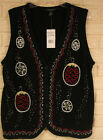NWT REFERENCE POINT II BLACK HOLIDAY BEADED, EMBROIDERED, KNIT BUTTON DOWN VEST