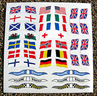 SLOT CAR SCALEXTRIC SCX 1/32nd vintage style WORLD FLAGS stickers decals