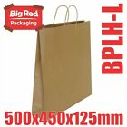 50 x Large Brown Kraft Paper Gift & Shopping Bags Twist Rope Handle 500x450x125