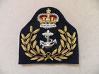 Warrant Officer, Royal Navy Cap Badge, Current Issue hand embroidered, new.