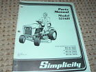 Simplicity 5216H Riding Tractor Dealer's Parts Book