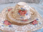 Vintage CHINTZ TRIO set CUP SAUCER 8.5 PLATE Pink ROSE ENGLISH CHINA 3 SETS AVA