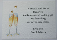 10 Handmade Personalised Wedding Thank You Notes / Cards FREE POSTAGE
