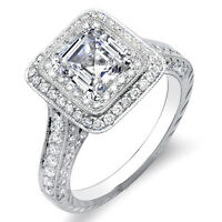 New 2.31 Ct. Asscher & Round Cut Diamond Double Halo Engagement Ring GIA F,IF