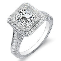 2.31 Ct Radiant Cut Double Halo Round Cut Diamond Engagement Ring E,VS2 GIA 14K