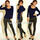 NEW Womens Round neck cut out open back hoodie casual PARTY tops BLUE Medium