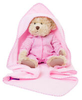 NEW GORGEOUS  PINK  FLEECE BLANKET WITH HOOD AND TRIM FOR DOLLS  OF ALL SIZES