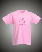PERSONALISED HORSE / PONY MOTIF - GIRLS T-SHIRT - ALL COLOURS/SIZES