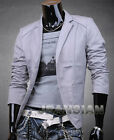 Mens Designer Slim Fit Jacket Blazer Coat Shirt Stylish Gray S M L XL V8916
