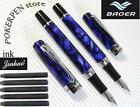 2pcs Baoer Fountain Pen 3040 Blue marble +10 Jinhao cartridges Black ink