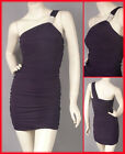 Purple Sleeveless One Shoulder Rhinestone Mini Dress XS-S