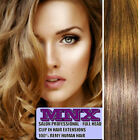 """20"""" Light Brown Blonde Mix Clip In Remy Human Hair Extensions Full Head Long UK"""