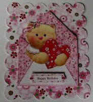 PK 2 CUTIE KITTEN HAPPY BIRTHDAY TOPPER EMBELLISHMENT FOR CARDS OR CRAFTS