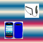 Car Charger+Blue Samsung Admire SCH-R720 Faceplate Phone Cover Hard Shell Case
