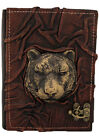 Lion Face Sculpture Medium Leather bound Journal - Notebook - Diary - Sketchbook