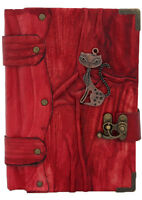 Cat Sculpture Medium size red Leather bound Journal - notebook - diary MM021