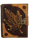 Spring Leaf on a Brown Leather Bound Journal - Notebook Leather Diary Sketchbook