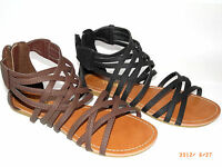 Anna Women's Flats Leather Gladiator Cross Braided Sandals Shoes Black Brown